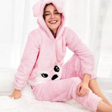 Pyjama-Set aus bedrucktem und einfarbigem Inselfleece in Rosa