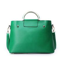 Green PU Handbag with Metal Handle, China Leading Handbag Manufacturer