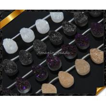 Natural Druzy Agate Stone Teardrop Shape with Top Drilled, Drzuy Stone Natural Druzy Cabochon Agate Gemstone Druzy Flat Druzy (YAD0101)