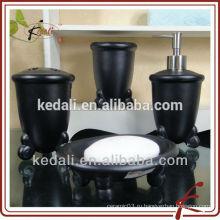 Черный оптовый фарфоровый керамический набор для ванной комнаты для дома