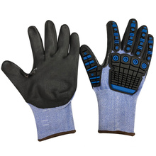 NMSAFETY TPR gloves anti-impact use TPR on back nitrile sandy palm safety gloves