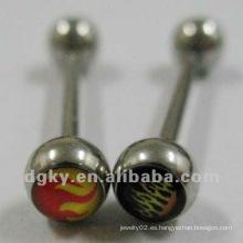 Quirúrgico de acero epoxi logotipo de la lengua barbell cuerpo piercing joyas