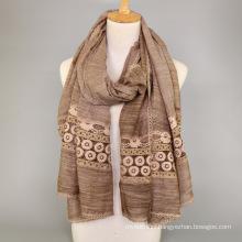 Fashion scarf factory china plain wholesale cotton printed plain muslim malaysian women head hijab lace cotton scarf