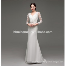 2016 new design floor length lace up slim-line embroidery designs for wedding dress