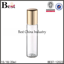 18ml perfume roll on bottles with metal ball, screw tube glass bottle, amber tube glass bottle supplier