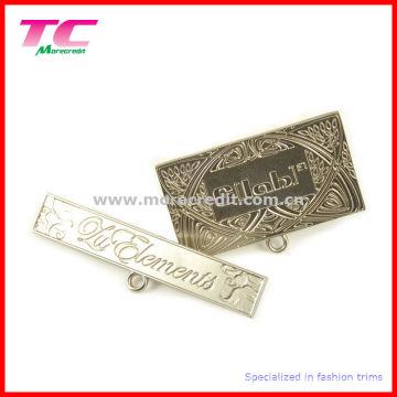 Broches de plaque signalétique en métal de marque pour sac à main de qualité