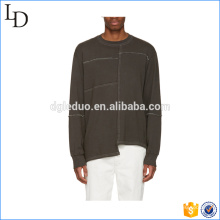 overlock stitching men hoodies hip hop special bottom and sleeve