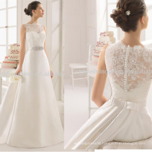 WD9187 removable train lace appliqued top diamonds belt ruched satin sweep train button wedding dress