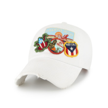 Patches and destoried birm white baseball cap