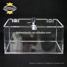Caja de almacenamiento de acrílico transparente de Jinbao Caja de acrílico clara vendedora caliente del organizador