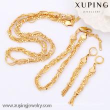 63604-Xuping ensembles de bijoux en or, ensemble de bijoux en laiton de mode avec l'or 18k plaqué