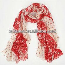 Women fashion soft wool printed scarf
