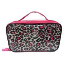 PVC makeup handbags with pink leopard print