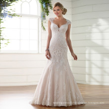 Lace Appliques Pearls Sequined Beading Button Custom Wedding Dress
