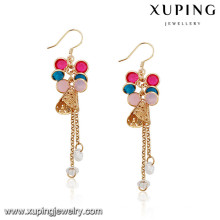 92145 Xuping Jewelry colorful design gold plated drop earrings