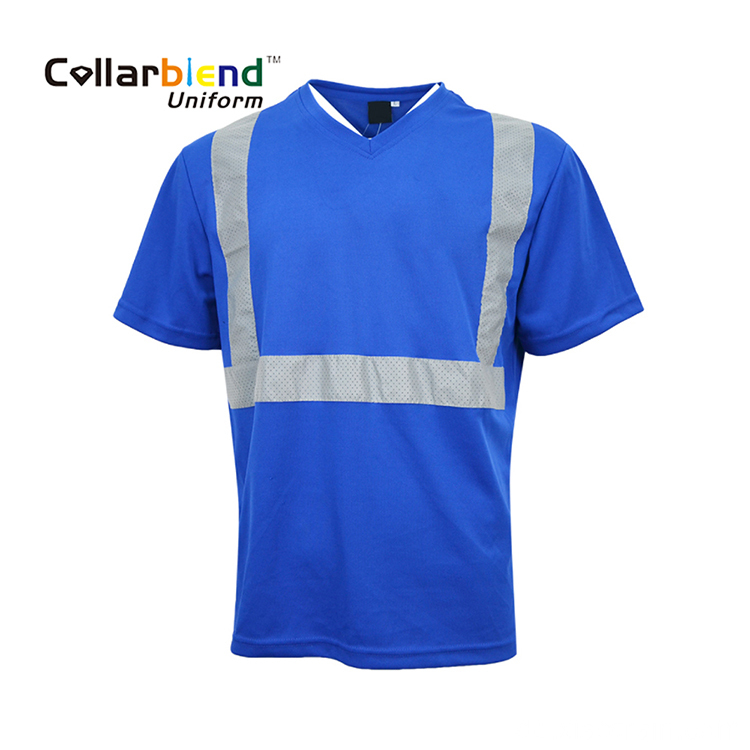 Blaues Sicherheits-Hi-Vis-Polo-T-Shirt