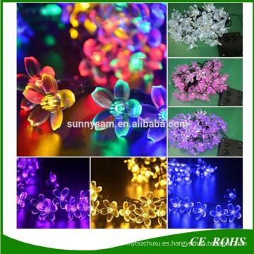 Flor del melocotón 20/30/50 LED solar de la secuencia de la lámpara jardín decorativo del césped del patio fiesta de Navidad luz solar