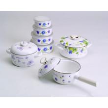 beautiful decals enamel cookware 4 sets of pot &bowl & sacue pan