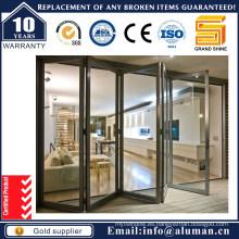 2016 Nuevo diseño de aluminio fuerte doble acristalamiento Bi- puerta plegable