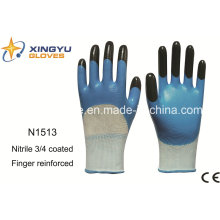 Polyester Shell Nitrile Coated Safety Work Gloves (N1513)