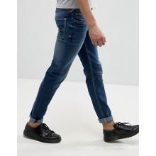 Custom Stonewashed Blue Denim Cotton Pants Men Jeans