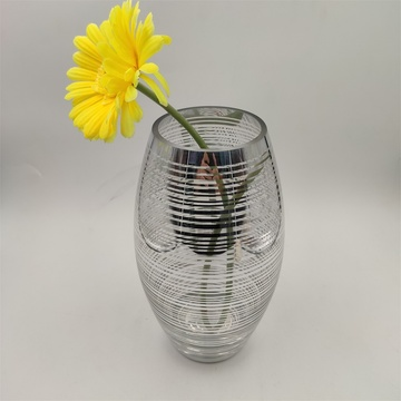 Venta al por mayor Clear And Silver Glass Vase