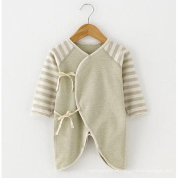 Algodón orgánico bebé de algodón rayado Romper