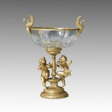 Estatua de jarrón de cristal cisnes y elfos Escultura de bronce Tpgp-007