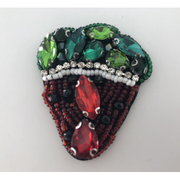 Kolorowe Rhinestone Handmade Strawberry Beaded Patch