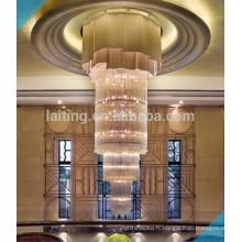 Éclairage de lustre en cristal de projet d'hôtel