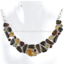 Ammolite Natural e Multi Gemstone 925 Solid Silver Necklace