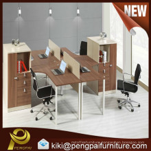 wooden office desk set workstation with sharing cabinet for 4 persons