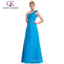 Grace Karin Stock One shoulder Wedding Party Gown plus size Prom Evening Dress CL3402-4#