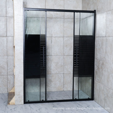 2021 Double Door Shower Enclosure with 29 Lines Tempered Glass