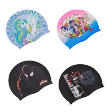 High Quality Custom Colorful Summer Sport Diving Durable Elastic Eco-Friendly 100% Silicone Fabric Swim Caps Protect Ears Long Hair Swimming Hats for Adult Kids