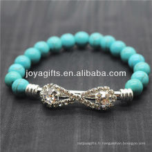 Bracelet en pierres précieuses en pierres rondes 8MM Turquoise avec morceau de diamant au milieu