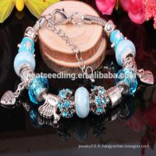 2015 Pendentifs en béton en argent sterling 925 Bracelet en cristal de Murano Bracelets ajustés pour femmes Bracelets et bracelets de charme