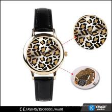 Relógio de leopardo de couro genuíno de couro genuíno