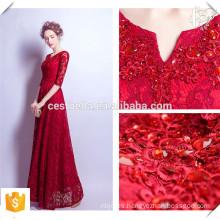 Vestido de noche de encaje formal de vino largo de la cola roja Vestido de fiesta elegante de encaje para damas jóvenes