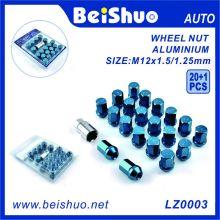 20 + 1 PCS Hex alumínio galvanizado conjunto de porca de roda
