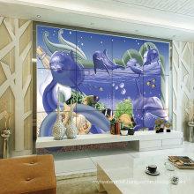 Sweden Style Living Room TV Background 3D Tile Design Pictures