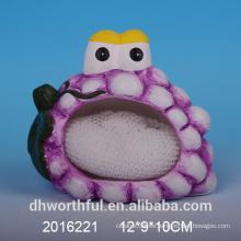 Porta-esponjas de cerámica decorativa en forma de uva