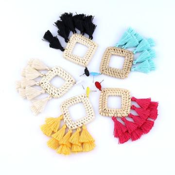 Pendientes bohemios con borlas de ratán para mujer, joyería Boho ligera tejida a mano, pendientes largos geométricos con forma de gota