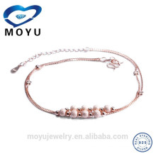 China Jewelry Manufacture rose gold plated anklet for women