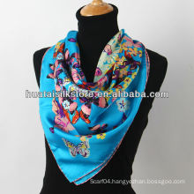 2014 spring blue butterfly silk scarf made in China