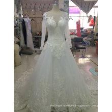 El cordón delicado Aplique una línea vestido del vestido de boda