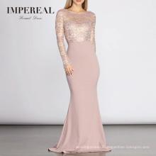 Lace Long Sleeve Bow Detail Formal Elegant Pink Evening Dresses Turkey