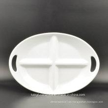 Uso diario de 4 rejillas Placa de cerámica ovalada