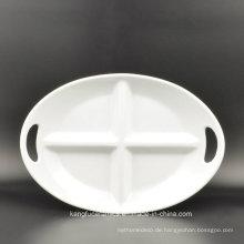 Tägliche Verwendung 4 Grids Oval Keramikplatte