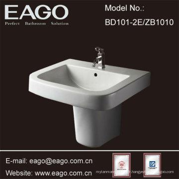 EAGO Bassin semi-piédestal en céramique pour salle de bain